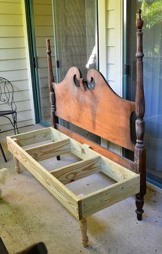 Repurpose headboard bench I have an old bed to use but I don't know if I could pull the trigger and drill into it