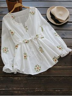 Notched Drawstring Waist Floral Blouse - WHITE ONE SIZE