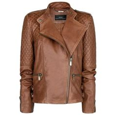 MANGO Quilted Panel Leather Jacket ($230) ❤ liked on Polyvore featuring outerwear, jackets, coats, coats & jackets, mango, chocolate, real leather jackets, leather moto jacket, quilted jacket and brown jacket