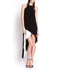 Look at this #zulilyfind! Black & White Asymmetrical Comet Dress - Women by Pink Stitch #zulilyfinds