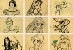 disney princesses early sketches
