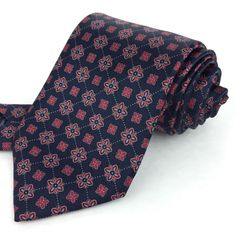 BRIONI Italy 60 Long Navy Blue Red White Geometric Floral 100% Silk Neck Tie #Brioni #NeckTie | Great Gift Idea | Men's Fashion | Menswear | Moda Masculina | Shop at designerclothingfans.com