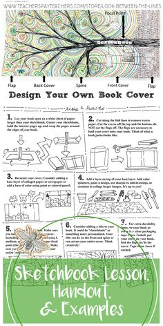 I try to get my art students invested in their sketchbooks on day one by having them personalize them. I teach a different sketchbook lesson in every class, this lesson focuses on making a sketchbook book jacket. Book Cover Page Design, Book Journal, Art Journals, Journal Ideas, Visual Journals, Teaching Drawing, Teaching Art, Visual Art Lessons, Sketchbook Cover