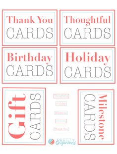 Labels for organizing a greeting card binder. Categories include thank you cards, holiday cards, birthday cards, milestone cards, thoughtful cards, and gift cards.