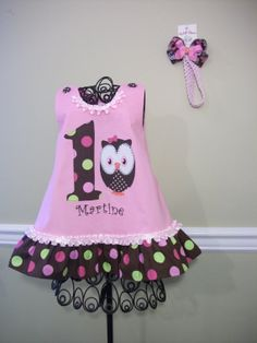 My Lil'Charm Birthday Owl girls dress in by SelectStyleBoutique, $49.99