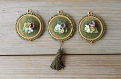 Vintage Italian floral wall hanging / three floral medallions / sage green velvet / ceramic flowers / cottage chic / home decor /