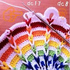 Mazourka-Iris : Crochet Free graph pattern and some pattern translation. Crochet Potholders, Crochet Squares, Crochet Granny, Crochet Motif, Crochet Designs, Crochet Doilies, Crochet Stitches, Crochet Patterns, Graph Crochet