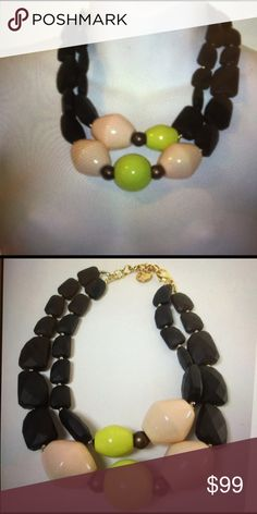 "PONO Joan Goodman Peach lime resin baubles, gold spacers two tier, gold link with signature charm, Italian resin made in Italy, 8-10 drop  statement necklace lobster claw closure. Seen on CBS The Good Wife, HBO,s""Girls , Good Morning America  and The Today Show . NWOT Jewelry Necklaces"