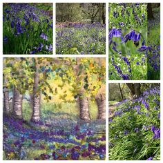 The bluebells are just coming out in my garden so I'm guessing our native bluebell woodlands are spectacular right now. This is my… Mixed Media Artists, Textile Artists, Sunlight, Woodland, Landscape, Felting, Woods, Pictures, Painting