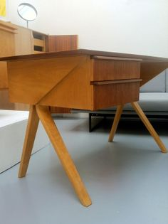 Beautiful bent ply desk in the gallery this week.  1950s Netherlands.