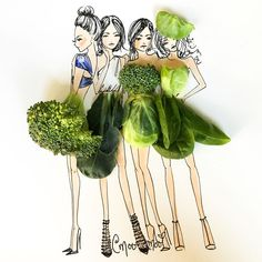 creative drawing Giclee Print: Veggie Girls by Meredith Wing : - 3d Drawings, Realistic Drawings, Art Floral, Art Fantaisiste, Fashion Illustration Dresses, Fashion Illustrations, Arte Fashion, Fashion Design, Deco Nature
