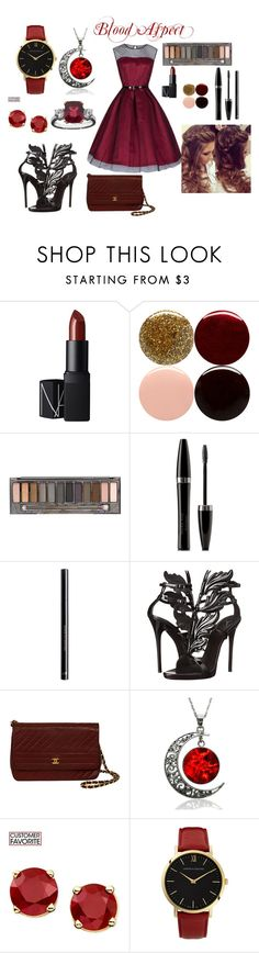 """""""Blood Aspect"""" by aspringer-1 ❤ liked on Polyvore featuring NARS Cosmetics, Nails Inc., Urban Decay, Mary Kay, H&M, Giuseppe Zanotti and Larsson & Jennings"""
