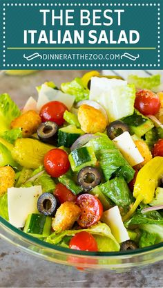 This Italian salad is a blend of fresh greens, cucumber, cherry tomatoes, olives, cheese and croutons, all tossed together in a homemade dressing. Italian Salad Recipes, Best Salad Recipes, Side Recipes, Vegan Side Dishes, Vegetable Side Dishes, Vegetable Recipes, Easy Salads, Healthy Salads, Healthy Potato Recipes
