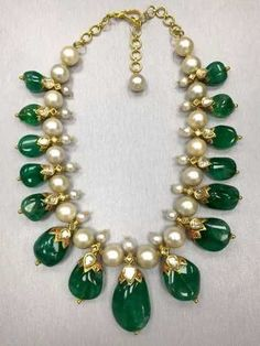 Gorgeous Indian Colombian Emerald Necklace With Pearls - 4