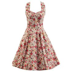 Halter Sleeveless Tiny Floral Print Women's Swing Dress ($31) ❤ liked on Polyvore featuring dresses, trapeze dress, halter top, floral sleeveless dress, sleeveless halter top and tent dress