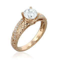 18k rose gold Center Diamond 1ct Diamonds 0.08ct