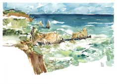 Algarve Beaches by Marc Taro Holmes - Doodlewash, Urban Sketch in watercolor of water and waves on a beach