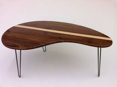 Mid Century Modern Coffee Table - Solid Walnut with Maple Inlay- Kidney Bean Shaped - Eames Era Biomorphic Boomerang Design via Etsy