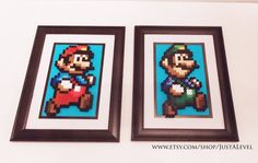 Super Mario Bros Framed Sprites Set of 2 by JustALevel on Etsy