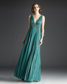 osell wholesale dropship V Neck A Line Sleeveless Chiffon Satin Lace Beading Pleated Floor Length Evening Prom Dress $84.13