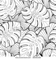 Black and white graphic tropical leaves seamless pattern. Palm tree background. Textile, fabric, texture, poster. Vector illustration Texture Illustration, Illustration Blume, Illustration Vector, Kritzelei Tattoo, Tattoo Tree, Palm Tree Background, Black And White Leaves, Black Tree, Black White