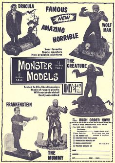 Monster Models ad in the back of Famous Monsters Vintage Toys 1960s, Retro Toys, Vintage Ads, 1960s Toys, Vintage Models, Childhood Toys, Childhood Memories, Toys In The Attic, Monster Toys