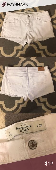 A&F White Denim Shorts These are from back in the day when A&F clothes were a lot more high quality! Moderately worn, but no signs of wear and tear. The jean material is thick, so you can't see most undergarments through them. Only selling because the waist is slightly too big on me! Abercrombie & Fitch Shorts Jean Shorts