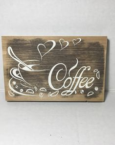 Coffee sign for the coffee lover! Coffee Bar Signs, Coffee Bar Home, Kitchen Decor Sets, Kitchen Signs, Coffee Kitchen Decor, Custom Home Bars, Home Bar Signs, Coffee Lover Gifts, Wooden Signs