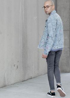 Topman Doodle Print Denim Jacket + S/S Sweatshirt
