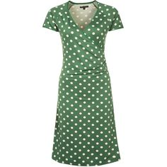 King Louie Jersey dress (6.785 RUB) ❤ liked on Polyvore featuring dresses, green, polka dot dress, green mid length dress, green jersey, green dress and king louie