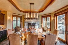 dining room with cool chandelier