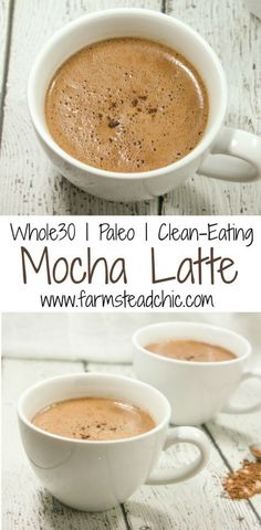 This Paleo & Whole30 Mocha Latte only uses 4 ingredients! Made with coffee, coconut milk, cacao + vanilla bean, it's a guilt-free way to start the new year!