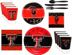"""NCAA Texas Tech Red Raiders Party Pack by Westrick. $19.99. Enhance the party or tailgating atmosphere with this officially licensed tableware. This party pack contains eight 9"""" paper plates, eight 7"""" paper plates, eight 16 oz. plastic beverage cups, eight plastic cutlery sets (knives, forks, spoons), 25 beverage napkins and 25 luncheon napkins."""