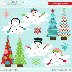 Melting Snowmen Digital Clip Art