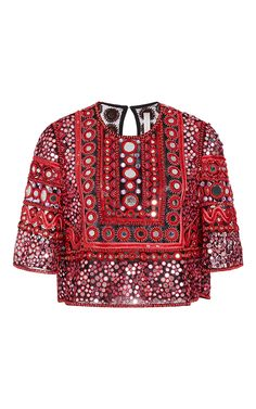 Mirror Beaded Top by Naeem Khan Resort 16 - Preorder now on Moda Operandi