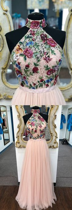 elegant high neck pink long prom dress with floral embroidery, 2k18 prom dress homecoming dress P2998