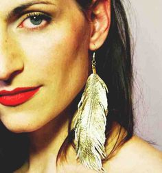 Gilded Bird  Gold Lambskin Leather Feather Earrings by lovesexton