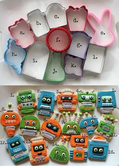 Creative Robot Cookies without a Robot Cookie Cutter (and link to gears made with flower cookie cutters)