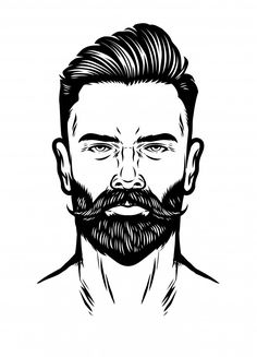 Mens Hairstyles With Beard, Haircuts For Men, Beard Styles For Men, Hair And Beard Styles, Hair Styles, Classic Barber Shop, Charlize Theron Hair, Beard Logo, Pompadour Hairstyle