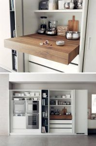 Kitchen Design Idea – Pull-Out Counters Kitchen Design Idea – Pull-Out Counters Pictures) // Pull-out counters are great for creating more space in a compact kitchen that can be closed up completely when it isn't being used. Hidden Kitchen, New Kitchen, Kitchen Decor, Kitchen Ideas, Kitchen Pantry, Korean Kitchen, Organized Kitchen, Kitchen White, Wall Pantry