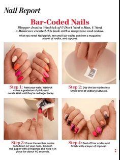 DIY Bar Coded Nail Design DIY Fashion Tips | DIY Fashion Projects
