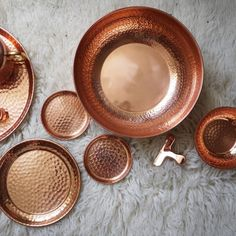 India Imported Copper Rose Gold Hammer Pattern Handmade Tray / Tea Tray / Bowl / Cup Teapot Decoration / Nordic Style Plates, Tableware, Plate, Dinnerware, Tablewares, Dish, Dishes, Dinner Plates, Porcelain Ceramics