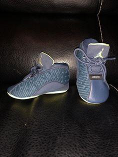 super popular 75aaf dc641 Nike Jordan Retro 13 Crib Baby Infant Squadron Blue Yellow Size 3C Shoes   fashion