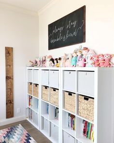 """Finished this wall in the homeschool / craft room and LOVE it! The large chalk … Finished this wall in the homeschool / craft room and LOVE it! The large chalk board """"always stay humble and kind"""" sign is from… Playroom Design, Playroom Decor, Playroom Ideas, Bonus Room Playroom, Playroom Colors, Ikea Kids Playroom, Children Playroom, Playroom Flooring, Wall Decor"""