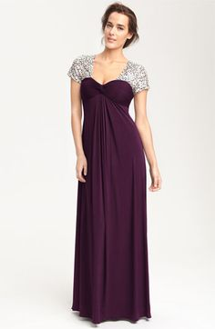 JS Boutique Sequin Trim Jersey Gown | Nordstrom