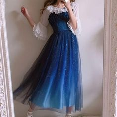 Japanese harajuku galaxy stars gradient blue long dress That skirt! Mode Outfits, Dress Outfits, Fashion Dresses, Dress Up, Prom Dresses, Long Dresses, Fashion Clothes, Pretty Outfits, Pretty Dresses