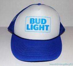 2b8c4444dd1 Budweiser Bud Light Vtg Blue White Foam Mesh Snapback Trucker Cap Hat One  Size