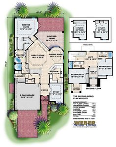 Mediterranean House Plan: Luxury Contemporary Narrow Lot Home Plan
