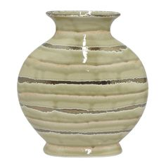 "HRT-18509 Benzara 12"" Golden and Ivory Ceramic Vase"