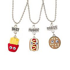 Best Friends Fast Food Necklaces Set of 3